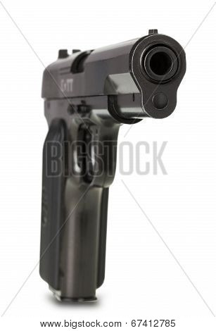 Soviet Handgun Tt (tula, Tokarev) Isolated On White Background