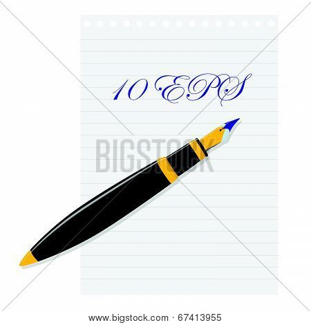 Fountain Pen Lying On A Sheet Of Paper. Vector Illustration.