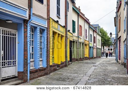 Narrow Street With A Small Colorful Houses