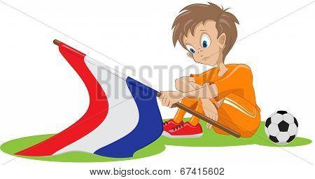 Sad Holland soccer fan. Vector cartoon