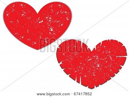 Abstract Scratched Heart Set