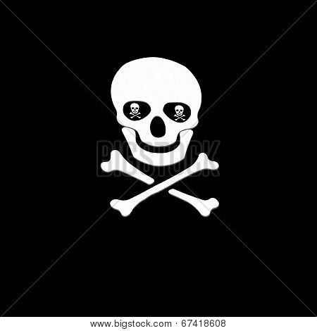 White skull and crossbones symbol