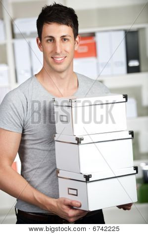 Caucasian Man Moving Boxes