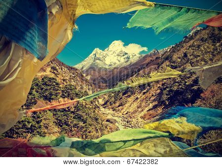 Prayers Flags In Himalaya Mountains, Nepal, Vintage Retro Style.