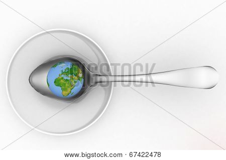 Blue earth on metal spoon. 3d render illustration on a white background.  Elements of this image furnished by NASA