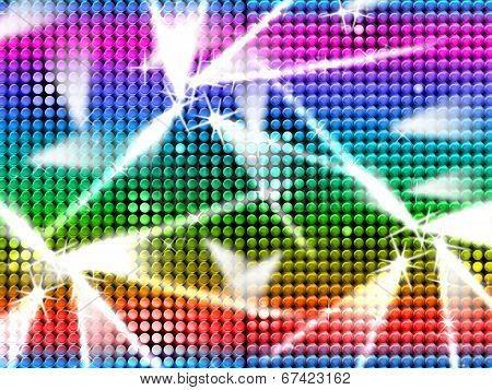 Color Grid Indicates Beam Of Light And Multicolored