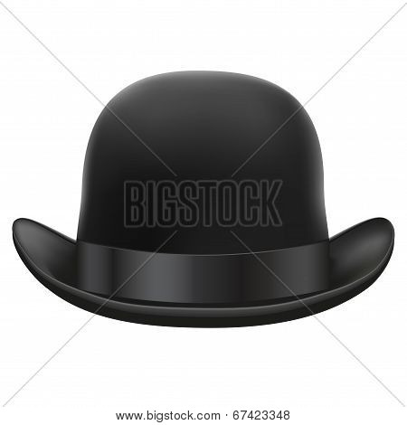 Black bowler hat.  Isolated on white background. Bitmap copy.