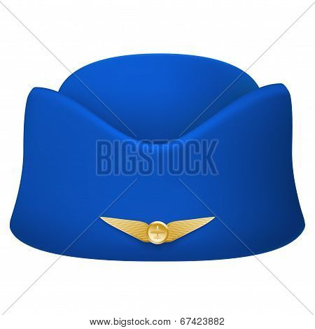 Stewardess hat of air hostess uniform. Isolated on white background. Bitmap copy.