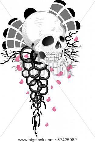 Illustration of a Tattoo Design Featuring a Skull with Rings Dangling Below