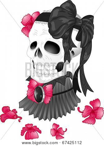 Illustration of a Tattoo Design Featuring a Skull Wearing a Victorian High Neck Collar