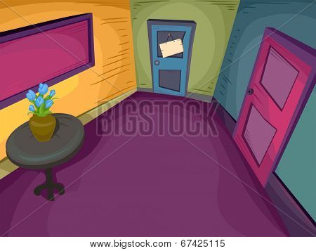 Illustration Featuring an Empty Colorful Foyer