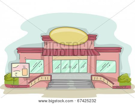 Illustration Featuring a Cafe Operating Inside a Supermarket