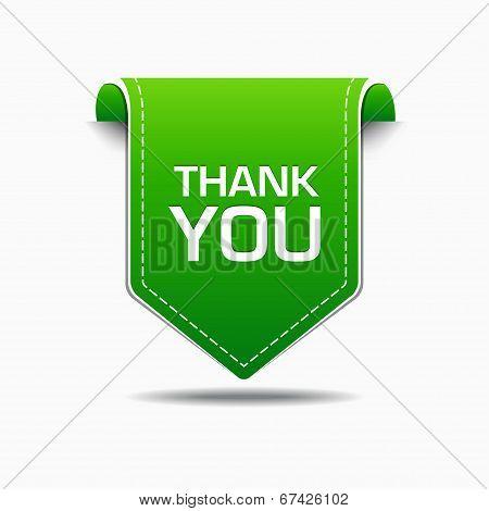 Thank You Green Label Icon Vector Design