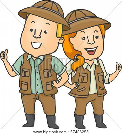 Illustration Featuring a Couple Wearing Safari Outfits Doing a Thumbs Up
