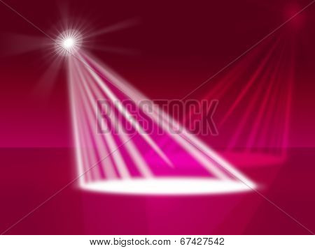 Red Spotlight Indicates Stage Lights And Entertainment