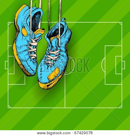 illustration of hanging shoe in Football background