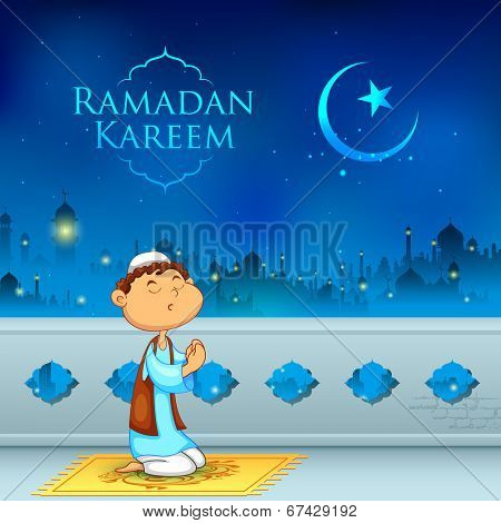 illustration of kid offering namaaz for Eid celebration