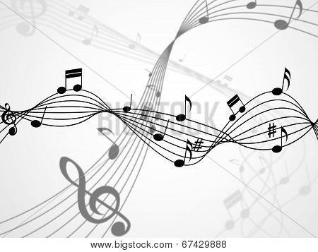 Background Notes Shows Bass Clef And Backdrop