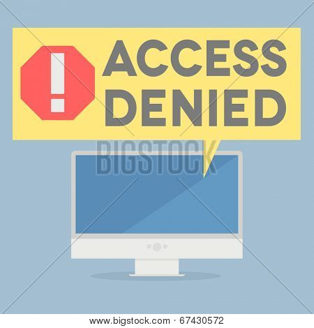 minimalistic illustration of a monitor with an access denied speech bubble, eps10 vector