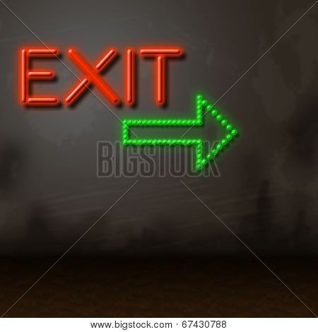 Exit Neon Indicates Escaping Exits And Glow