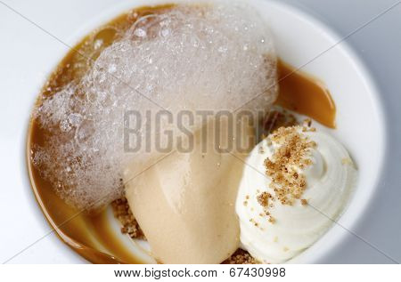 peach ice cream with caramel and shuffle