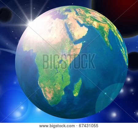 Planets Globe Represents Solar System And Globally