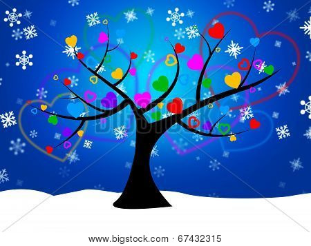 Tree Snow Represents Nature Forest And Treetop