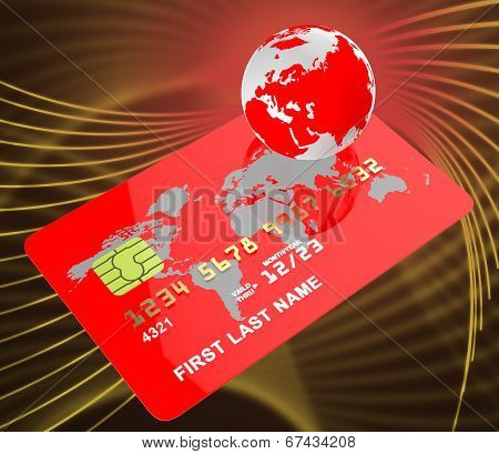 Credit Card Represents Globalise Bankcard And Planet