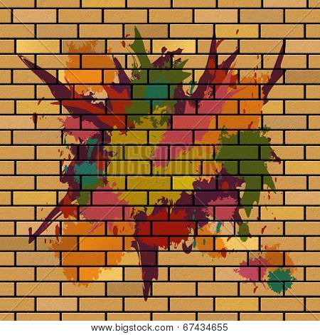 Brick Wall Shows Brick-wall Splattered And Splashes
