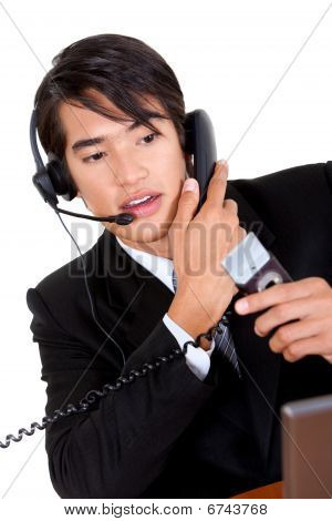 Busy Telemarketing Representative