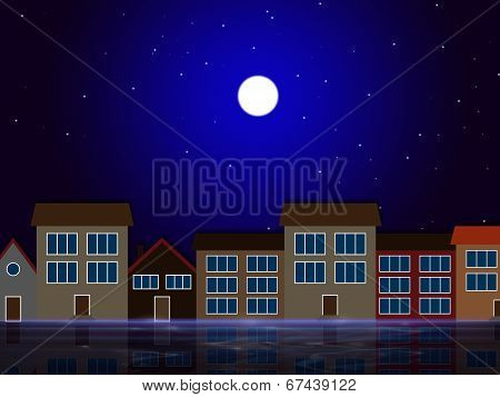 Moon Night Indicates Astronomy House And Residential