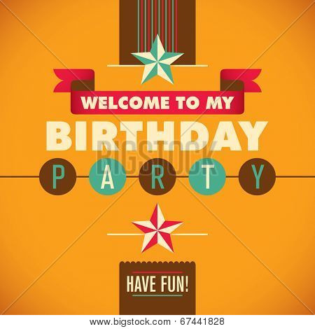 Invitation card for birthday party. Vector illustration.