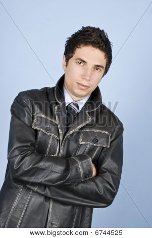 Modern Business Man In Leather Jacket