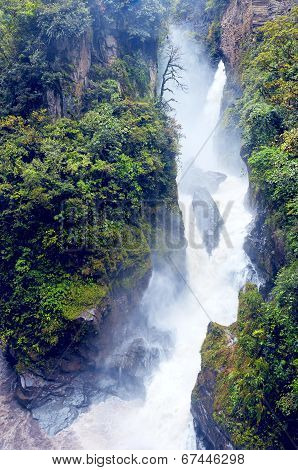 Pailon Del Diablo - Mountain River And Waterfall In The Andes. Banos. Ecuador