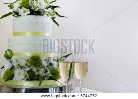 Wedding Cake And Champaign
