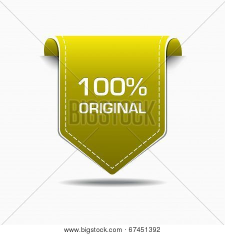 100 Percent Original Yellow Label Icon Vector Design