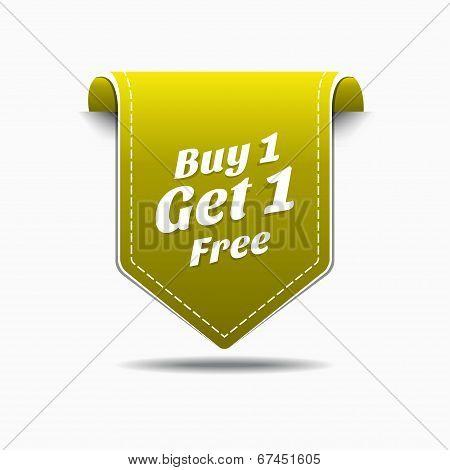 Buy 1 Get 1 Yellow Label Icon Vector Design