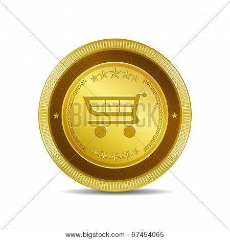 Shopping Circular Vector Gold Web Icon Button