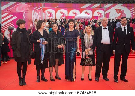 MOSCOW - JUNE, 19: Guests of Festival. 36th Moscow International Film Festival. Opening Ceremony at Pushkinsky Cinema . June 19, 2014 in Moscow, Russia