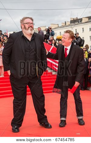 MOSCOW - JUNE, 19: Actor Kristian Nairn (Hodor, Game of Trones), singer Jace Everett. 36th Moscow International Film Festival. Opening Ceremony at Pushkinsky Cinema . June 19, 2014 in Moscow, Russia