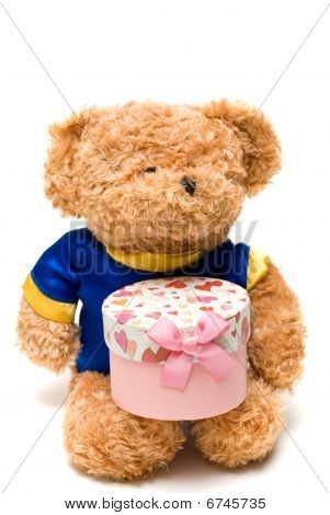 Toy Bear Hold A hand- made Pink Gift Box  In White Background
