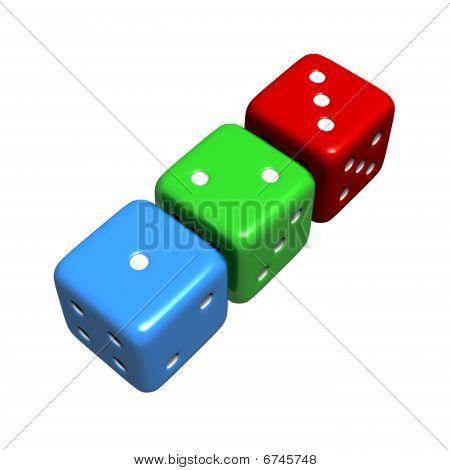 Lucky 1-2-3 Colourful Dice