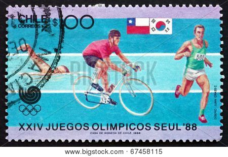 Postage Stamp Chile 1988 Swimming, Cycling And Runing