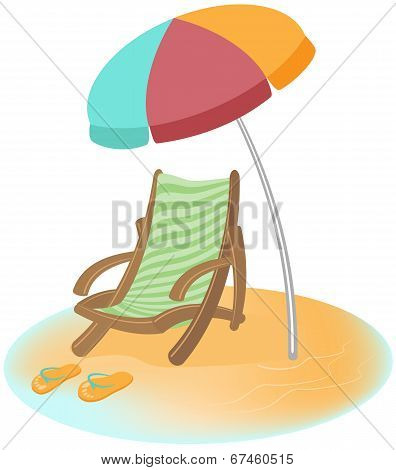 Parasol, sunbed and Flip-Flops. Vector cartoon