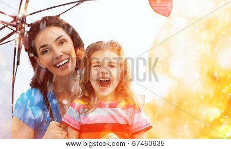 the family enjoys the rain