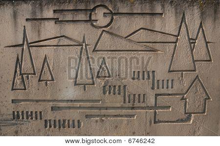 Plastic Art In Concrete Slab