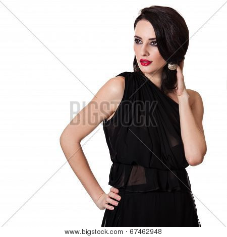 Beautiful Caucasian Woman Isolated On White Backround