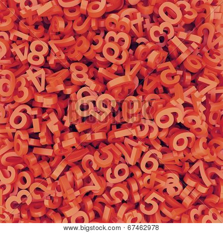 Abstract Red-orange Fallen Numbers. 3D Render Background.