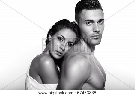 Black And White Portrait Of Tender Beautiful Couple