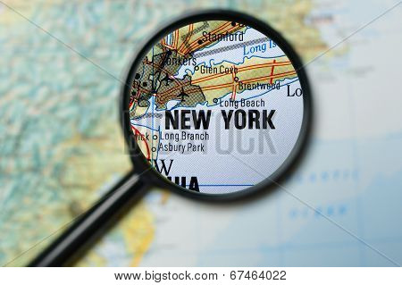 New York magnified on a map
